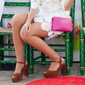 Zara Suede leather platform heel/ sandals NTW